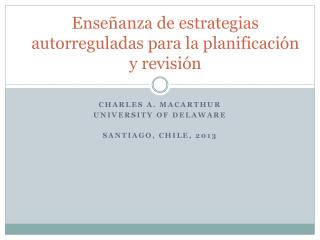Enseñanza  de  estrategias autorreguladas para  la  planificación  y  revisión