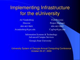 Implementing Infrastructure for the eUniversity