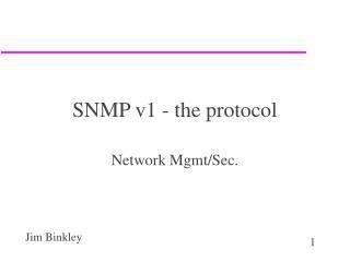 SNMP v1 - the protocol