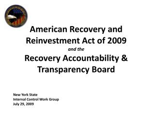 New York State Internal Control Work Group July 29, 2009