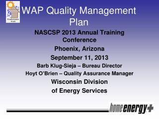 WAP Quality Management Plan