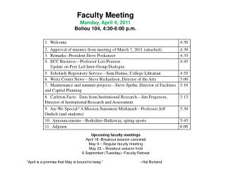 Faculty Meeting Monday, April 4, 2011 Boliou 104, 4:30-6:00 p.m.