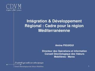Intégration & Développement Régional : Cadre pour la région Méditerranéenne
