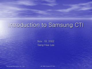 Introduction to Samsung CTI