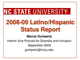 2008-09 Latino/Hispanic Status Report