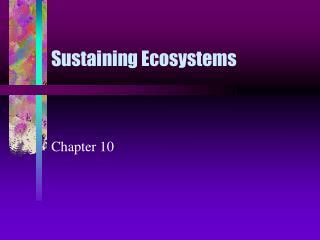 Sustaining Ecosystems