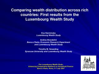 Eva Sierminska Luxembourg Wealth Study  Andrea Brandolini