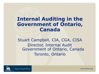 Internal Auditing in the Government of Ontario, Canada