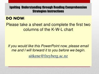 Igniting  Understanding through Reading Comprehension Strategies Instructions