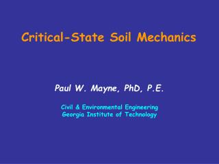 Critical-State Soil Mechanics