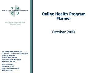 Online Health Program Planner October 2009