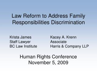 Law Reform to Address Family Responsibilities Discrimination