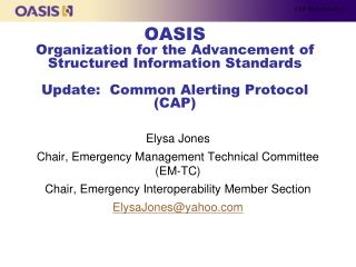 Elysa Jones Chair , Emergency Management Technical Committee (EM-TC)