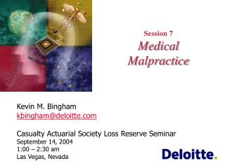 Session 7 Medical Malpractice