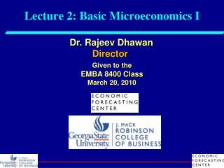 Lecture 2: Basic Microeconomics I