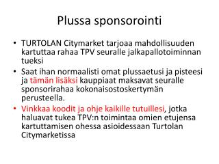 Plussa sponsorointi