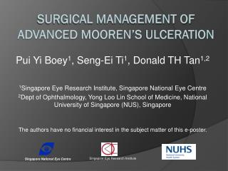 Surgical Management of Advanced  Mooren�s  Ulceration