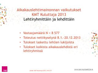 Aikakauslehtimainonnan vaikutukset KMT Kuluttaja 2013  Lehtiryhmittäin ja lehdittäin
