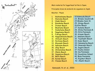 Main rookeries for loggerhead turtles in Japan.