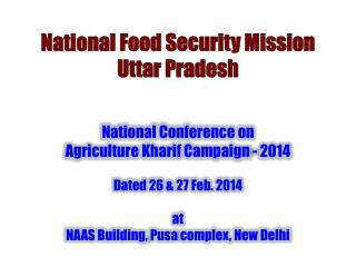 National Food Security Mission  Uttar Pradesh