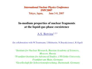 In-medium properties of nuclear fragments  at the liquid-gas phase coexistence