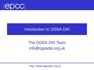 Introduction to OGSA-DAI