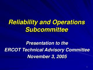 Reliability and Operations Subcommittee