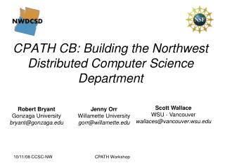 CPATH CB: Building the Northwest Distributed Computer Science Department