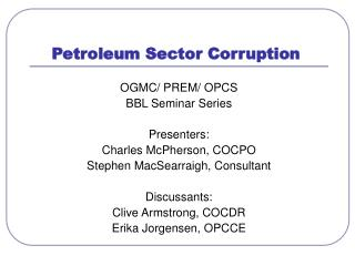 Petroleum Sector Corruption