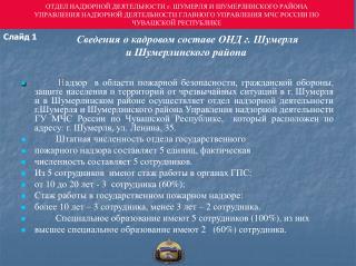 Сведения о кадровом составе ОНД г. Шумерля  и Шумерлинского района