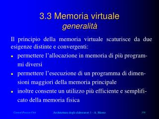 3.3 Memoria virtuale generalità