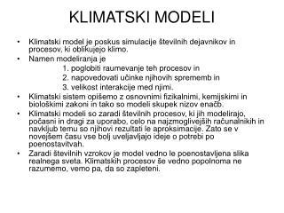 KLIMATSKI MODELI