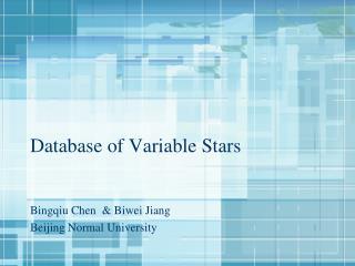 Database of Variable Stars
