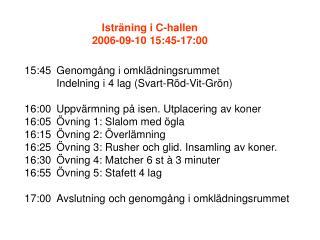 15:45Genomgång i omklädningsrummet Indelning i 4 lag (Svart-Röd-Vit-Grön)