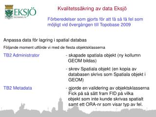 Anpassa data för lagring i spatial databas