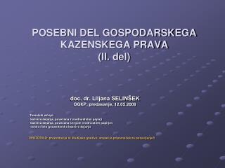 POSEBNI DEL GOSPODARSKEGA KAZENSKEGA PRAVA ( II . del)