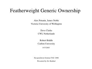 Featherweight Generic Ownership