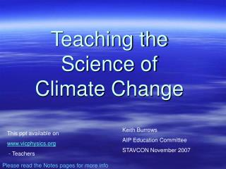 Teaching the Science of  Climate Change