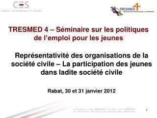 TRESMED 4 – Séminaire sur les politiques de l'emploi pour les jeunes