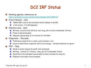 DC2 IRF Status