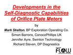 Developments in the  Self-Diagnostic Capabilities of Orifice Plate Meters  by