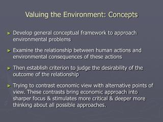 Valuing the Environment: Concepts