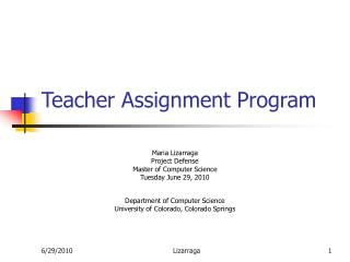 Teacher Assignment Program