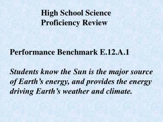 Performance Benchmark E.12.A.1