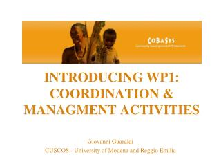 INTRODUCING WP1: COORDINATION & MANAGMENT ACTIVITIES