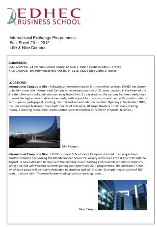 International Exchange Programmes  Fact Sheet 2011-2012 Lille & Nice Campus