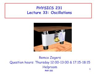 PHYSICS 231 Lecture 33: Oscillations