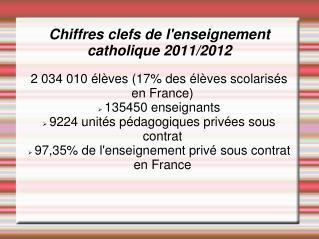 Chiffres clefs de l'enseignement  catholique 2011/2012
