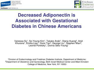Decreased Adiponectin is Associated with Gestational Diabetes in Chinese Americans