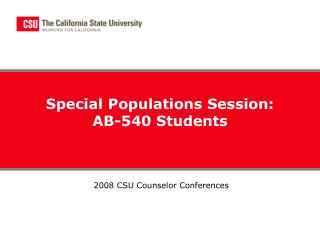 Special Populations Session: AB-540 Students